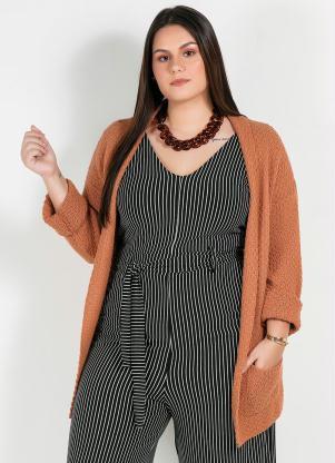 Casaco Tricot Plus Size (Caramelo) Aberto
