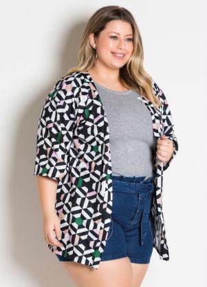 Kimono (Geométrico) Amplo Plus Size
