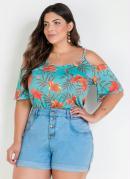 Blusa Ciganinha com Tiras Plus Size Floral