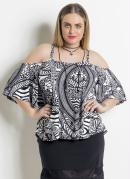 Blusa Ciganinha Étnica Plus Size Quintess