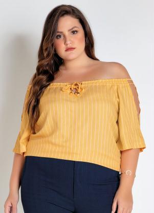 Blusa Plus Size (Amarela) Listrada Ciganinha
