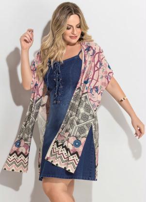 Kimono (Barrado Rosê) Fenda Plus Size Quintess