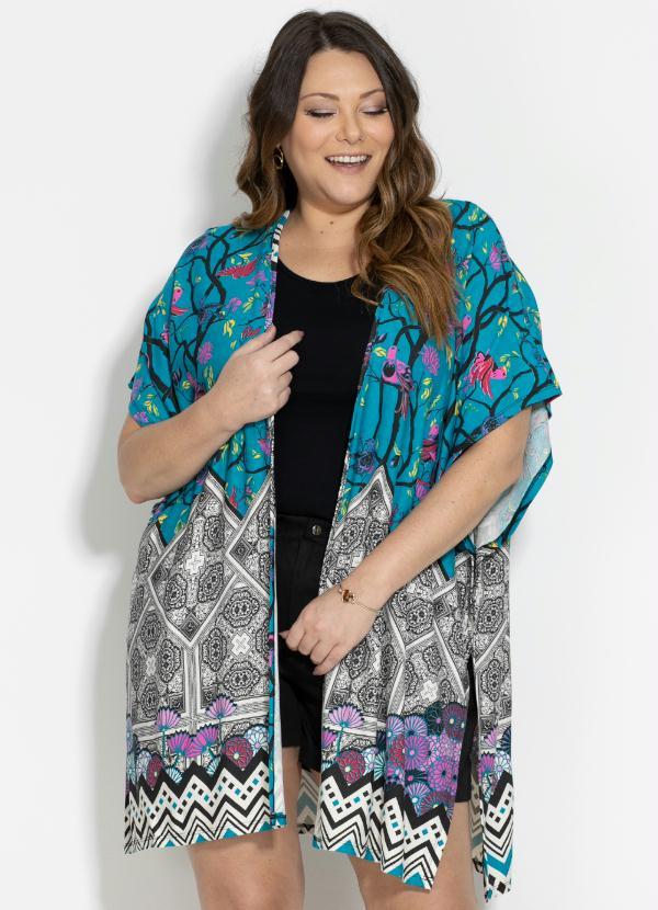 Kimono (Barrado Verde) Fenda Plus Size Quintess