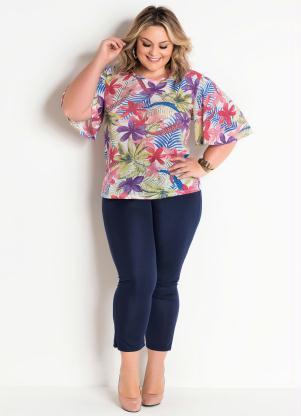 8dc3ab7dc Blusa e Calça Capri Plus Size Floral e Marinho - Quintess