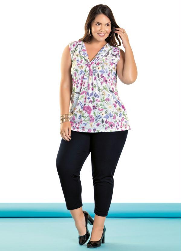 Conjunto Blusa e Calça Capri Plus Size (Floral)