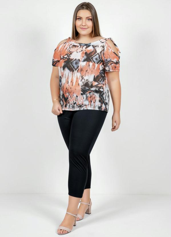 Conjunto (Étnico e Preto) Blusa e Calça Plus Size