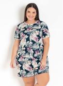 Conjunto Floral de Blusa e Short Plus Size