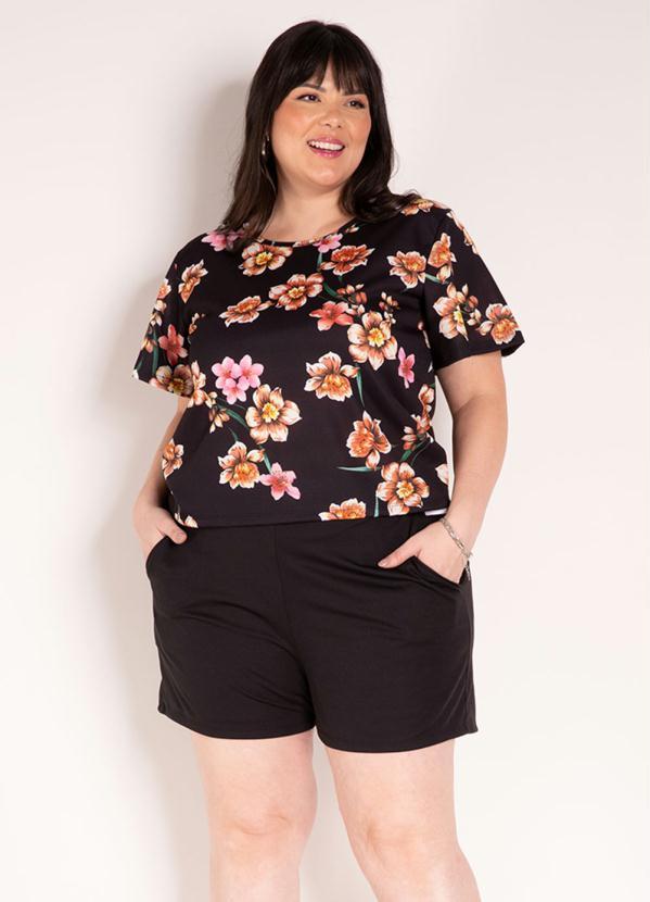 Conjunto (Floral e Preto) Blusa e Short Plus Size