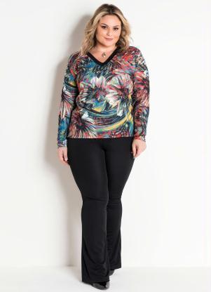 Conjunto Plus Size Blusa e Calça Flare (Étnico)