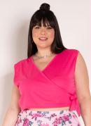 Cropped Pink com Amarração na Cintura Plus Size