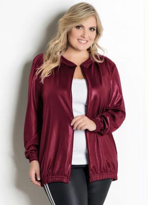 Jaqueta em Cirrê (Bordô) Plus Size
