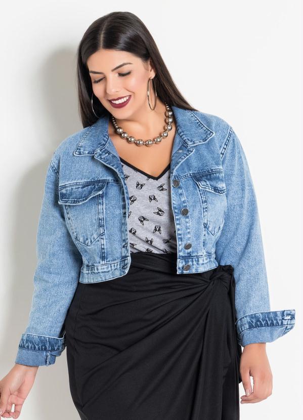 Jaqueta (Jeans Claro) Plus Size Estampa Costas
