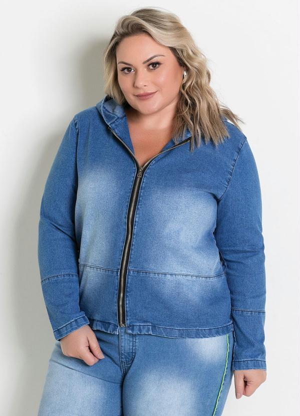Jaqueta (Jeans) com Zíper e Capuz Plus Size