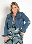 JAQUETA (JEANS) CROPPED DESTROYED PLUS SIZE