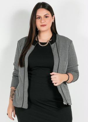 Jaqueta Plus Size com Ziper (Preto/Branco))
