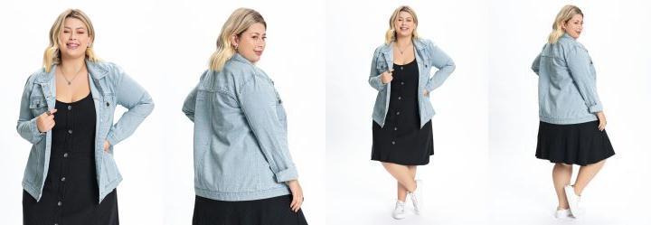 Jaqueta Plus Size Jeans Claro com Bolso