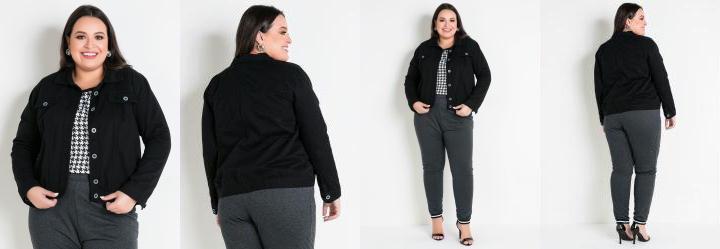 Jaqueta Preta Plus Size com Bolso Decorativo