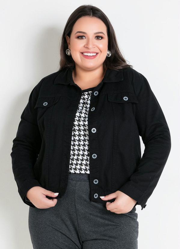 Jaqueta (Preta) Plus Size com Bolso Decorativo