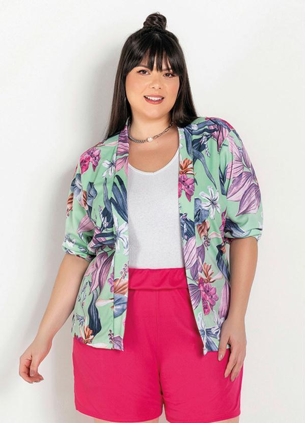 Kimono (Floral Verde) com Mangas 3/4 Plus Size