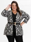 Kimono Plus Size Onça com Fendas nas Laterais