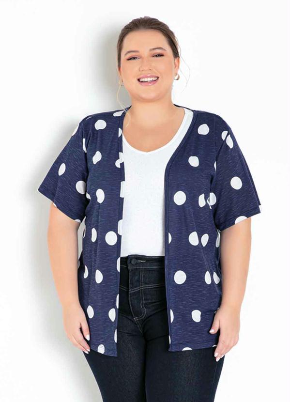 Kimono (Poá Marinho) com Mangas Curtas Plus Size