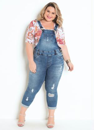 Jardineira Plus Size (Jeans) Cropped