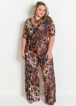 Macacão Pantalona (Onça) Plus Size