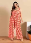 Macacão Plus Size Xadrez Vermelho com Bolsos