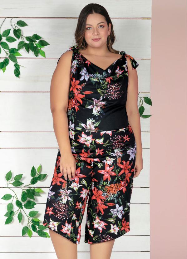 Macacão (Floral) com Decote Degagê Plus Size