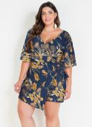 Macaquinho Floral Azul Plus Size com Short Saia