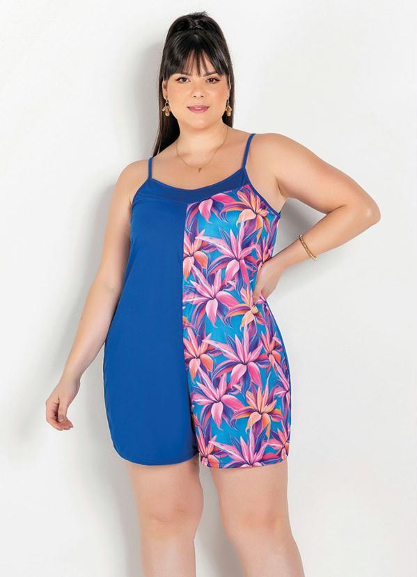 Macaquinho (Floral e Azul) com Recorte Plus Size