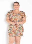 Macaquinho Floral Nude com Babado Plus Size