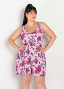 Macaquinho Floral Rosa de Alças Largas Plus Size