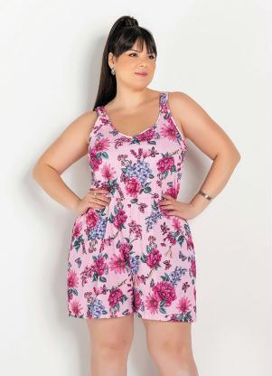 Macaquinho (Floral Rosa) de Alças Largas Plus Size