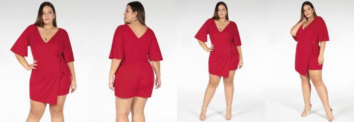Macaquinho Vermelho com Saia Plus Size