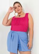 Regata Pink com Recorte com Franzidos Plus Size