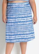 Saia Curta Tie Dye Azul Evasê Plus Size