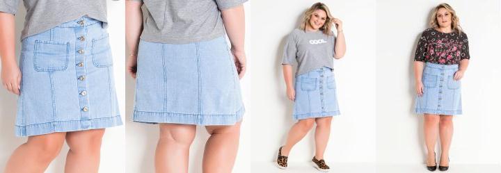 6080279a3 Score  0.0 Saia Jeans Claro com Botões Plus Size