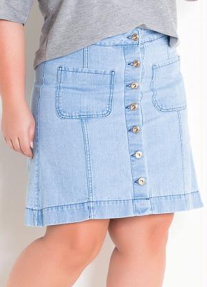 f3927c32d0 Saia Jeans Claro com Botões Plus Size - SouLojista
