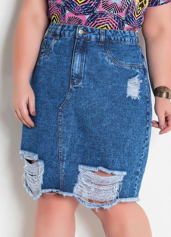 Saia (Jeans) Destroyed Plus Size