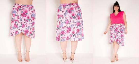 Saia Midi Floral Rosa Transpassada Plus Size