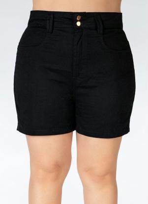 Short em Sarja Plus Size (Preto)