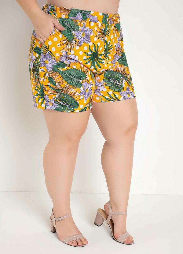 Short (Floral Amarelo) com Bolsos Plus Size