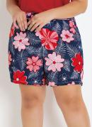 SHORT (FLORAL) PLUS SIZE COM BOLSOS DECORATIVOS