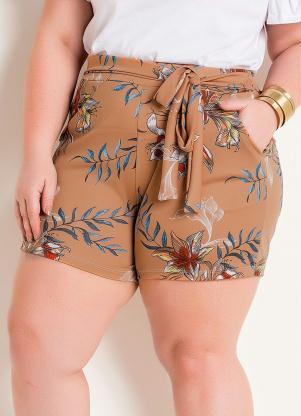 Short (Floral) Plus Size com Bolsos e Amarração
