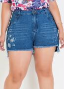 SHORT (JEANS ESCURO) DESTROYED PLUS SIZE