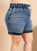 Short Jeans Plus Size Azul Escuro com Cordão