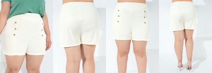 Short Off White com Botões Plus Size