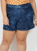 Short Tie Dye Azul com Elástico Plus Size