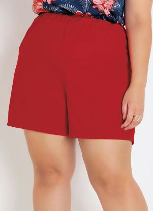 Short (Vermelho) Plus Size com Bolsos Decorativos